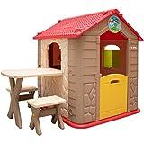 LittleTom Wetterfestes Kinderspielhaus mit Tisch - Kunststoff Spielhaus für Kinder ab 1 Jahr