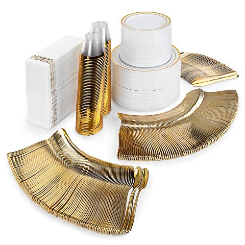 Elegant Dinnerware 700pc Disposable Plates Set. White and Gold Trim Plastic Plates for Wedding. 100 Dinner Plates, Appetizer Plates, Wedding Napkins, Gold Plastic Silverware and Fancy Party Cups