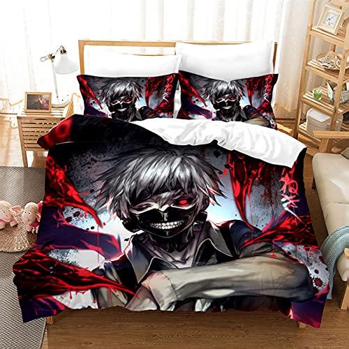 ZZYYII Tokyo Ghoul: Kaneki Ken, Cubierta de Acolchado de Anime (1 Colcha Cubierta + 2 Funda de Almohada), impresión 3D, fanáticos de Anime, Lavable a máquina, tamaños múltiples dispo
