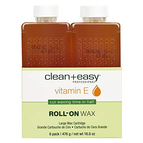 Clean & Easy Vit E Roll-On Wax 6-pack Large Vitamin E, Net Wt. 16.8 oz