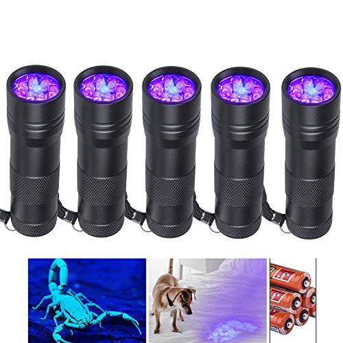Beinhome Linterna UV de luz negra [5 unidades], lámpara UV, detector de orina para mascotas, manchas de orina seca de perro y gato, detector de billetes falsos (incluye pilas)