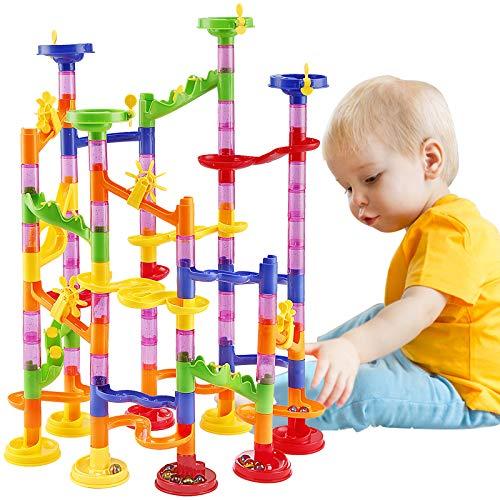 WloveTravel Murmelbahn Kugelbahn Eisenbahn Spielzeug DIY Bausteine Marble Run Coaster Bahnbau Marmor Spiel für 4 Jahre Alt Jungen Mädchen Geschenk Spielzeug