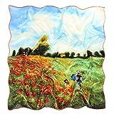 prettystern Lámina tela bufanda Chal de seda de estilo Claude Monet la impresión artística Campo de amapola en argenteuil P792
