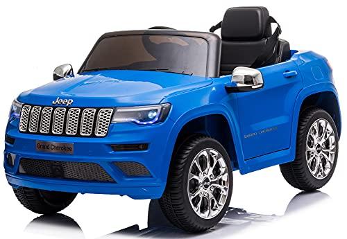 Mondial Toys Auto Macchina Elettrica per Bambini 12V JEEP GRAND CHEROKEE con Sedile in Pelle Telecomando 2.4G Porte Apribili Blu