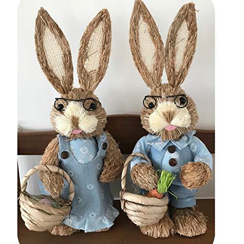 2-teiliges Set mit 33 cm großen, blauen Hasenpaaren, Blumen, Zubehör, Stroh, Basteln, Ostern, Hochzeit, Garten, Geschenk, Dekoration