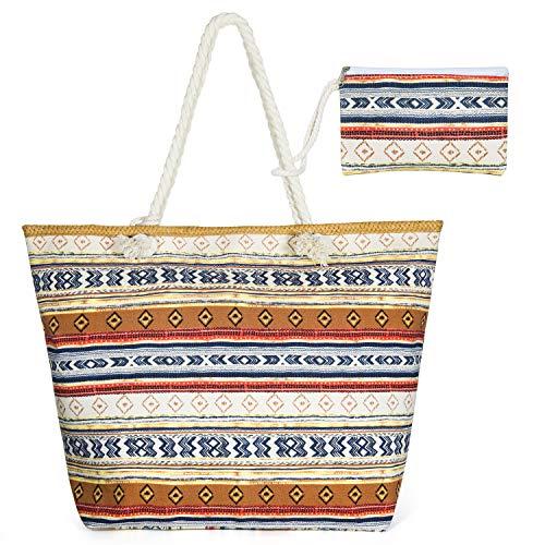 Czemo Bolsa de Playa Grande con Cremallera de Mujer Bolso de Mano Shopper Bolsa Totalizadores del Recorrido (32)