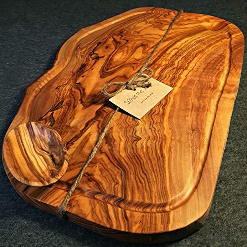 What the Art!® Olive Wood «Big Rustic» Gr. XXL | Olivenholz Schneidebrett inkl. Dip-Schälchen + Geschenk | ca. 54-60 x 22-30 x 2 cm | Käsebrett - Hackbrett - Tranchierbrett - Servierbrett