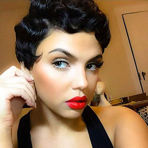 DQ Human Hair Short Wig for Women, Curly Fashion Short Wig Natural Looking Elastic Cap Brazilian Virgin Hair Capless Replacement Wig (Finger wave, Natural Black)