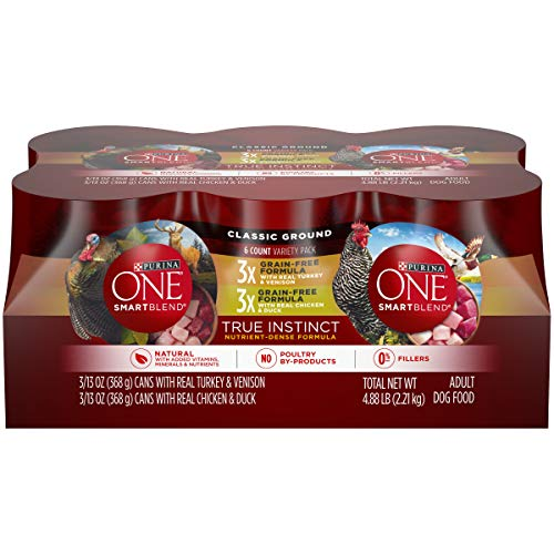 Purina ONE Grain Free, Natural Pate Wet Dog Food Variety Pack, SmartBlend True Instinct for Pugs