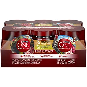 Purina ONE Grain Free, Natural Pate Wet Dog Food Variety Pack, SmartBlend True Instinct – (6) 13 oz. Cans