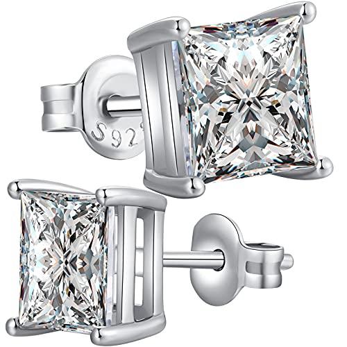 Orecchini Donna Argento 925 Brillantini Uomo Bottone Diamante Zircone Zirconi Orecchino 7mm