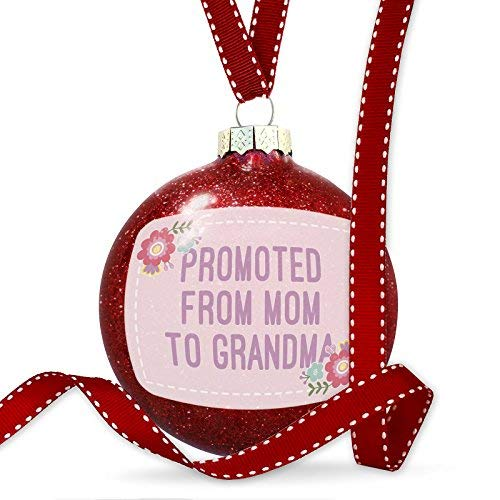 WSMBDXHJ Christmas Decorations Baubles Promoted from Mom to Grandma Mother's Day Cute Flowers Ornament Glass Christmas Ornaments 2018 for Tree for the Home Novelty