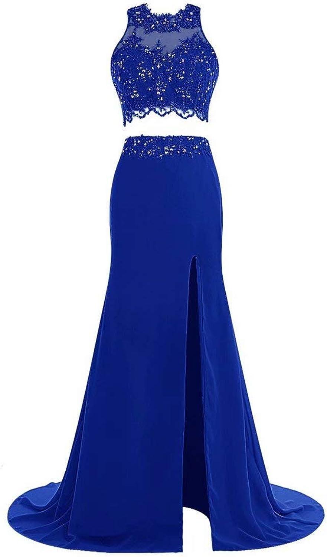 HAiliFier Women's TwoPiece Mermaid Prom Party Dresses Lace Beaded Split Long Evening Gown