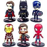 Avengers Cake Topper Mini Juego de Figuras Decoración para Tartas Pastel Decoración Suministros 6 Pcs Decoraciones de Pasteles Cumpleaños Fiesta