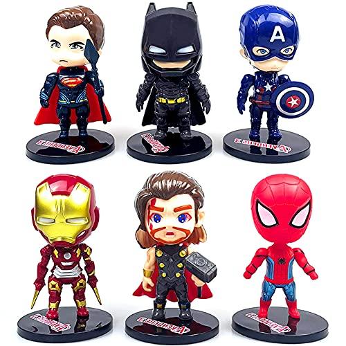 Avengers Compleanno Decorazioni,6 Pezzi Supereroe Cake Topper Per Torte Di Compleann Festa Superhero Cake Topper Cartoni Animati Decorazioni