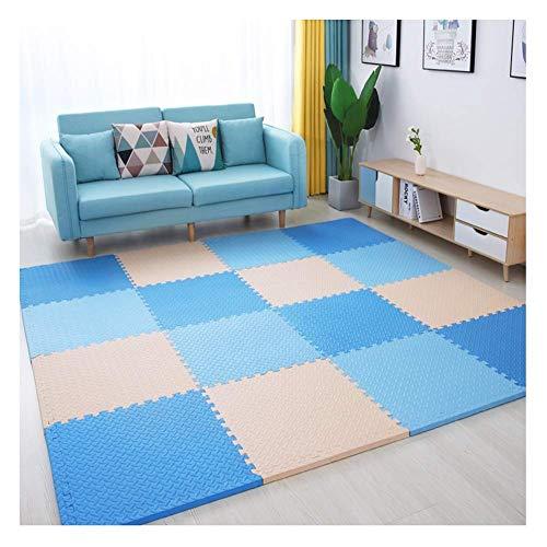 ZTMN Foam Puzzels Spelen Mat Interlocking Vloeren tegels Slaapkamer Splice Sponge Mats Plus Dikke Kind Crawling Mat, 4 Kleur, Willekeurige Borduurwerk (Kleur : B, Maat : 60x60x1.2cm-6sts)