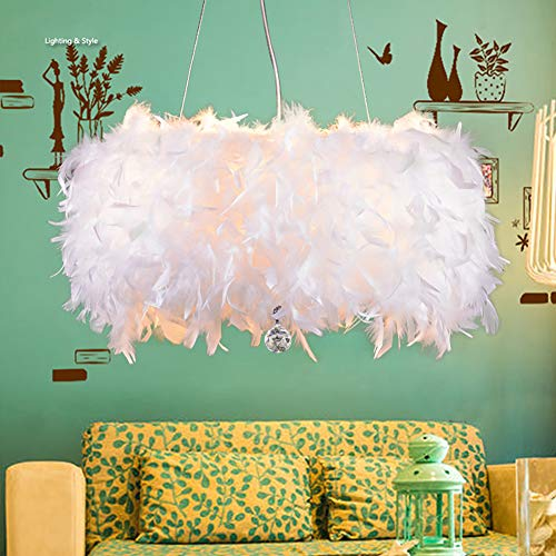 LIUNIAN 30CM Deckenleuchte Kronleuchter Lampenschirm Moderne Mode Feder Deckenleuchte mit Schatten Und Kristall Anhänger für Wohnzimmer Schlafzimmer Veranda Bar
