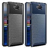 vguard [2 pack] cover per sony xperia 10, [fibra di carbonio] custodia protezione in morbida silicone tpu case per sony xperia 10 (nero+blu)