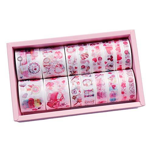 Sweet Heart Washi Tape Set, 16 Rolls Valentine's Day Masking Washi Tape, Cake Washi Tapes for Arts DIY Crafts Scrapbooking Wedding Anniversary Decoration (Red)