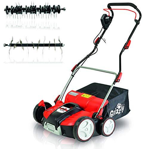 Grizzly Elektro Power Vertikutierer ERV 3718, 1800 W Turbo Power Motor, 37 cm Arbeitsbreite, Elektrischer Rasenlüfter