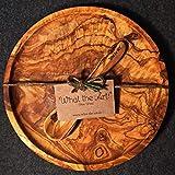 What the Art!® Olive Wood «Catino» Gr. L | Olivenholz Teller inkl. Löffel + Geschenk | ca. Ø 24 cm | Köcher - Speiseteller - Dessertteller - Tellerset - Holzteller