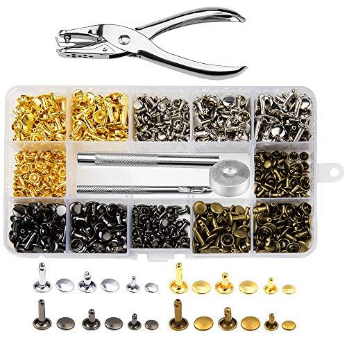 peinat 360 Set Juegos de Remaches de Cuero de Doble Tapa 3 Tamaños Perno de Metal Tubular con Herramientas para Cuero Artesanías, Sombreros, Jeans, zapatos, chaquetas, etc.