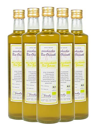 direct&friendly Bio Olivenöl Griechenland mit Bio Zitrone (5 x 500 ML)