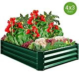 Best Choice Products 4x3x1ft Outdoor Metal Raised Garden Bed for Vegetables, Flowers, Herbs, Plants - Green