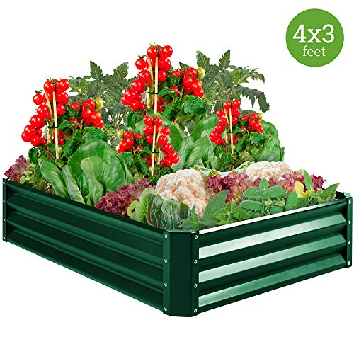 Best Choice Products 4x3x1ft Outdoor Metal Raised Garden Bed Box Vegetable Planter for Growing Fresh Veggies, Flowers, Herbs, and Succulents, Green