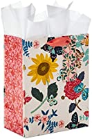 "Hallmark 9"" Medium Gift Bag with Tissue Paper (Bright Flowers) for Birthdays, Bridal Showers, Weddings, Baby Showers,..."