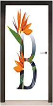 Homesonne Letter B 3D Door Wallpaper Letter B with Bird of Paradise Flower Alphabet Character Font Design Print for Bedroom Decoration Orange Green Grey,W17.1xH78.7