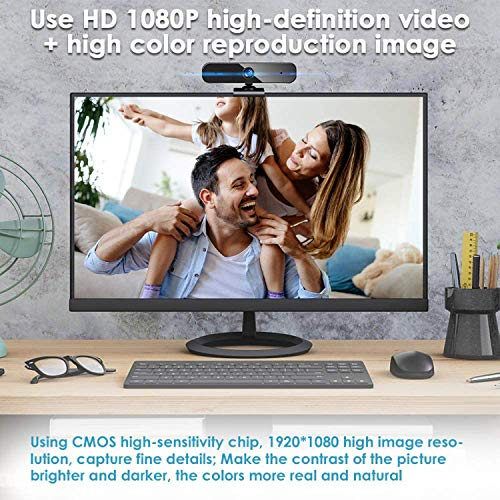 BENEWY Full HD 1080P Webcam, Webcam USB Plug & Play USB Mikrofon Webcam mit Mikrofon für PC, YouTube, Skype Videoanruf, Studieren, Konferenz,Monitor mit Webcam und mikrofon