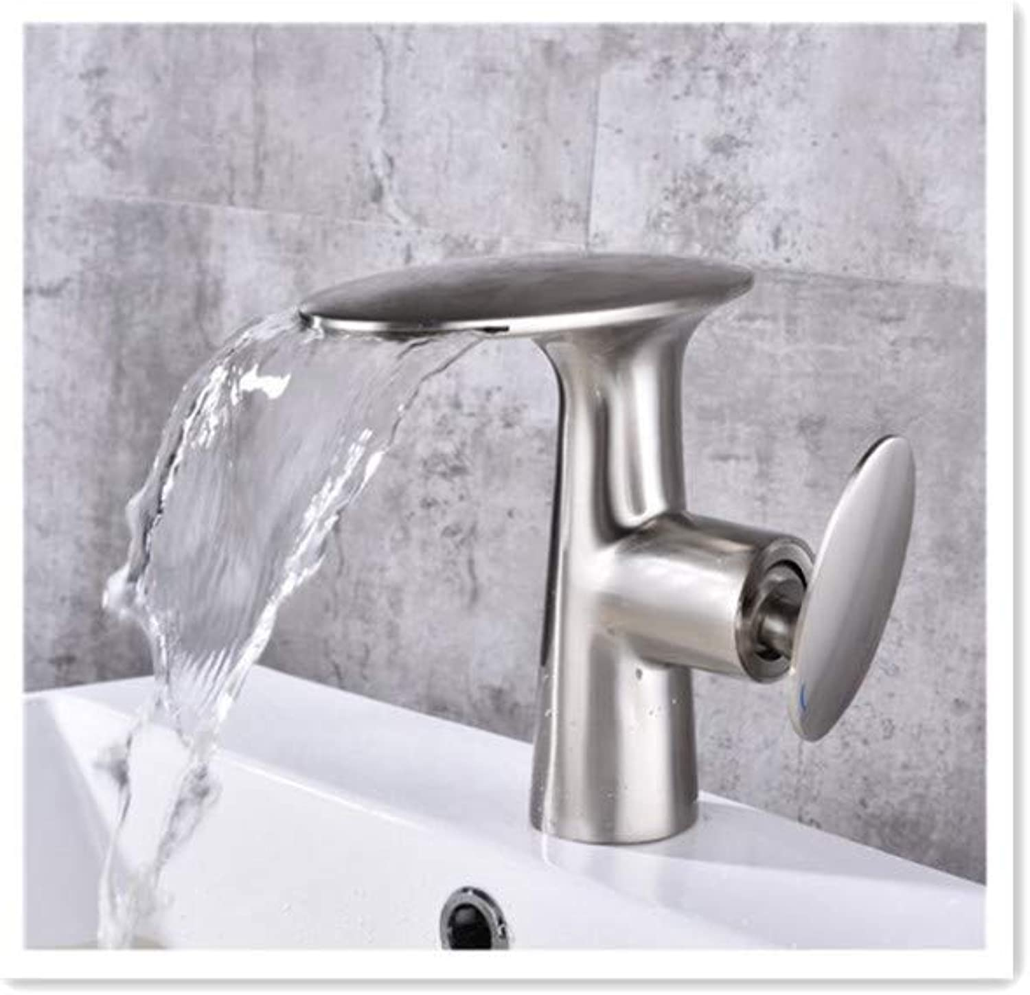 BBQBQQY Copper hot and cold basin faucet, washbasin, washbasin, basin, bathroom, waterfall faucet