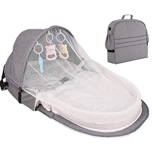 Draagbare reizen Pasgeboren Baby Bed Solid Color Mama Tassen Luier luierbak Folding Mini Stof Crib Klamboe,Gray