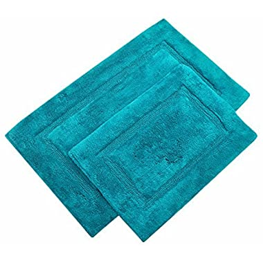 TreeWool, (2 Piece Bathroom Rug Set with Latex Sprayed Backing, Non Skid Arena Accent Bath Mats in 2000 GSM Supreme Soft 100% Cotton High Absorbent, Hand Tufted (21 x34  & 17 x24 ; Turquoise)