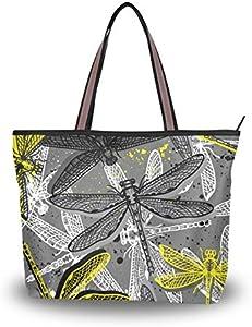 NaiiaN Patrón de libélulas Ropa para niños y niñas Bolso de mano con insectos para mujeres, niñas, señoras, bolsos para estudiantes, bolsos de hombro con correa livianos, monedero para compras