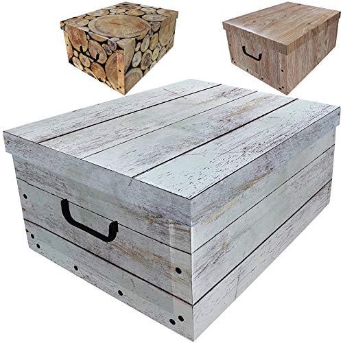 Aufbewahrungsbox 45L mit Deckel Holz Design 3er Set Pappe Aufbewahrungskiste Truhe Aufbewahrung Schachtel