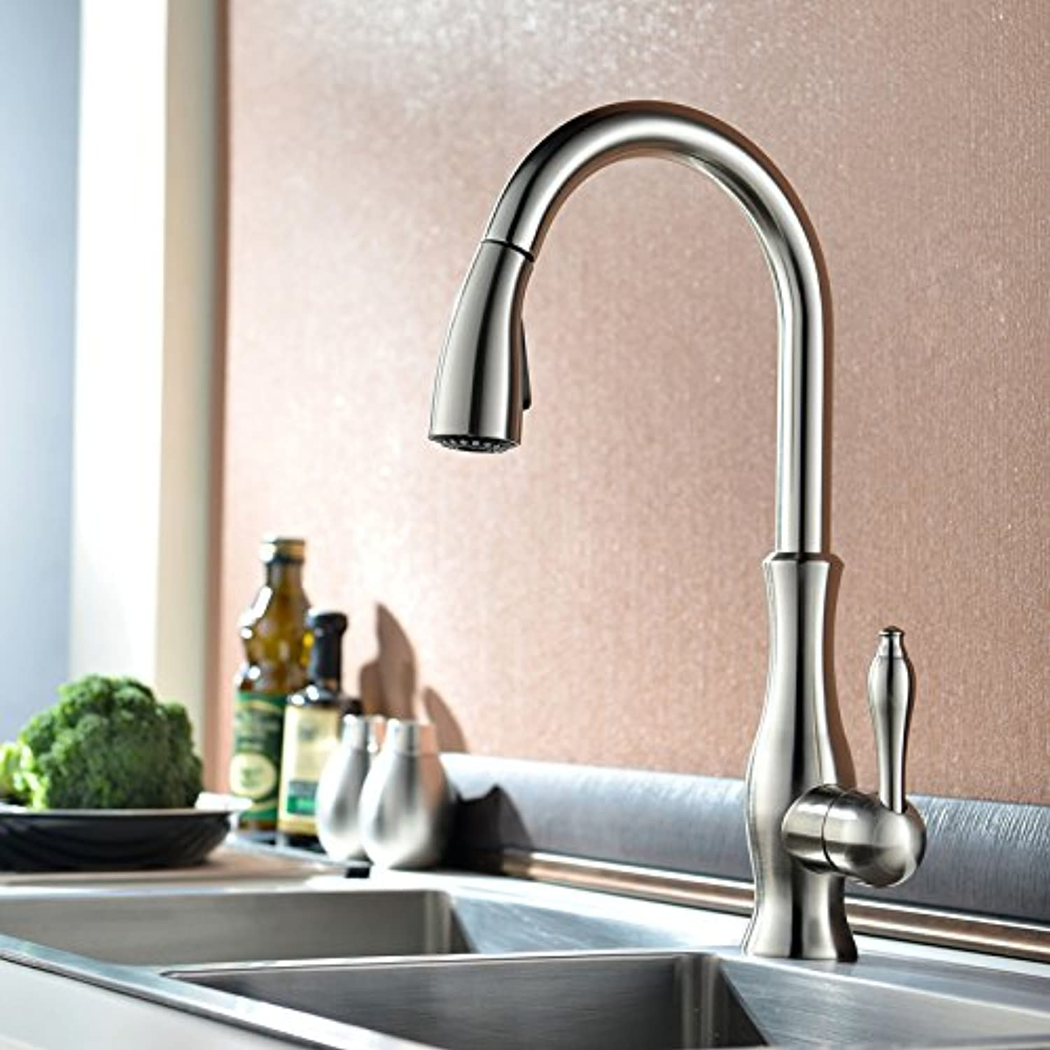 SUHANG All Copper Drawing And Drawing Kitchen Faucet Sink Dish Basin Faucet Hot And Cold redating Kitchen Faucet