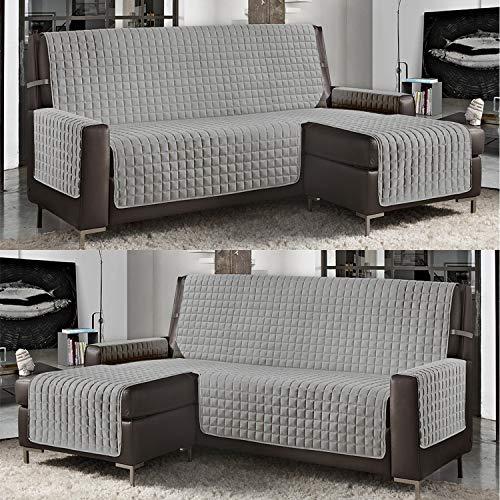 Banzaii Funda de Sofá Cubre Chaise Longue Acolchada Lisa 4 Plazas (290 cm) con Chaise Longue Izquierda/Derecha Gris Claro
