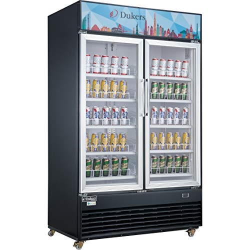 Dukers Appliance USA DSM-48R Glass Swing 2-Door Merchandiser Refrigerator, Black