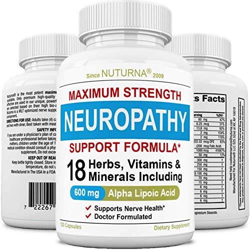 Neuropathy Support Supplement - Nerve Support with 600 mg Alpha Lipoic Acid Daily Dose - Peripheral Neuropathy - Feet Hand Legs Toe Maximum Strength Nerve Renew Repair Support Formula, 120 Caps