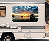 3D Autoaufkleber bewölkter Sonnenuntergang Meer Wohnmobil Auto KFZ Fenster Motorhaube Sticker Aufkleber 21A606, Größe 3D sticker:ca. 161cmx 96cm
