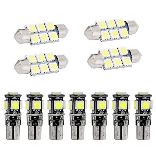 Muchkey Ampoules de Voiture Lampe pour A5 S5 LED Canbus sans Erreur Voiture Lampe D'immatriculation Lumières Lampes Remplacement Blanc 11pcs