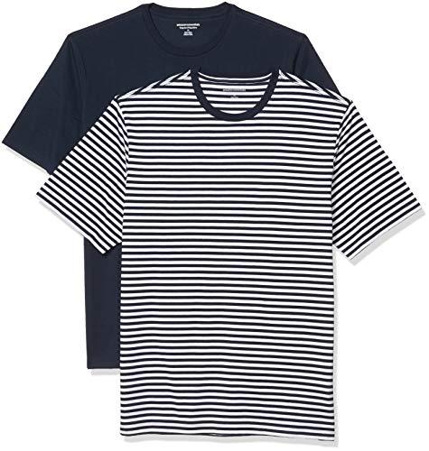 Amazon Essentials 2-Pack Crewneck T-Shirts Camiseta, Rayas Azul Marino-Blanco/Azul Marino, M, Pack de 2
