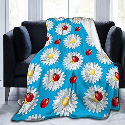485 Ladybug and Camomile Felpa Manta Manta para Cama Sofa Manta De Frio Manta De Sofá para Dormitorio Viaje Cama L