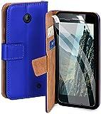 moex Handyhülle für Nokia Lumia 630/635 - Hülle mit Kartenfach, Geldfach & Ständer, Klapphülle, PU Leder Book Hülle & Schutzfolie - Blau