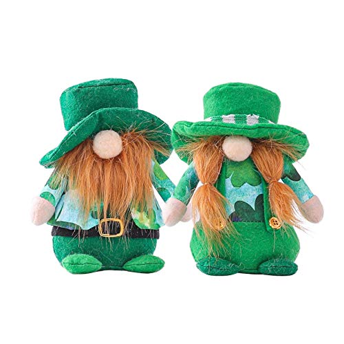 Jiutian 2PC St Patrick's Day GNOME Faceless Doll, Svedese Tomte scandinavo Nisse Green Hat Clover Bambola di Peluche, Irish Festival Party Decor (Color : Multicolor)