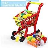 Nuheby Chariot Course Enfant Caddie Supermarché,Jeu d'imitation Fruits et Légumes Jouet Exterieur Interieur Jeux Educatif Cadeau Enfant 3 4 5 Ans Fille Garcon(27 Pièces)