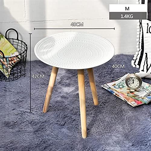 ZOYAFA Tavolino da salotto rotondo creativo in legno tavolino da salotto letto divano comodino tè frutta snack servizio vassoio piccolo scrivania salotto mobili (colore : bianco M 40cm)