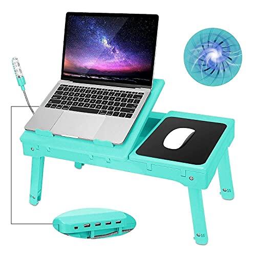 Escritorio plegable para computadora en la cama, escritorio para computadora portátil plegable Bandeja para regazo plegable Cama Soporte de mesa ajustable Soporte para computadora portátil Escritorio